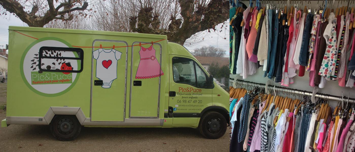 Pic et Puce dépôt vente itinérant de vêtements pour enfants au salon du bébé et de l'enfant de Bordeaux ABC kid'z