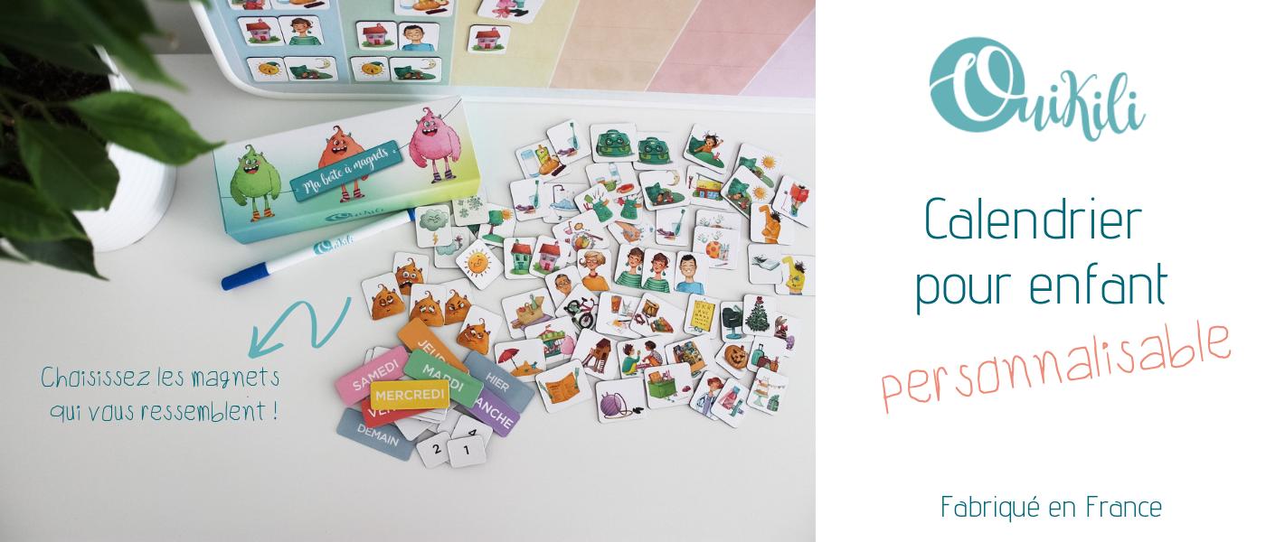 Ouikili calendrier magnets personnalisable au salon du bébé et de l'enfant de Bordeaux ABC kid'z